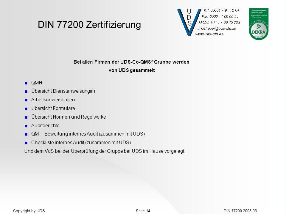 DIN 77200 Zertifizierung DIN 77200-2008-05Seite 14Copyright by UDS Bei allen Firmen der UDS-Co-QMS ® Gruppe werden von UDS gesammelt QMH Übersicht Die