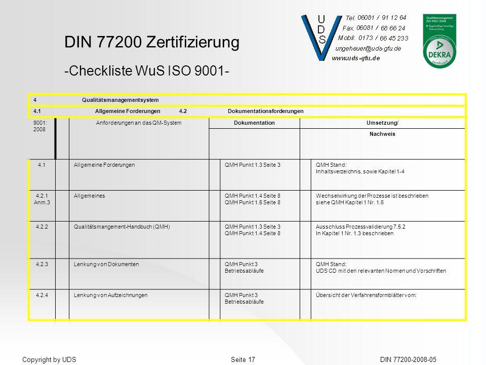 DIN 77200 Zertifizierung DIN 77200-2008-05Seite 17Copyright by UDS 4Qualitätsmanagementsystem 4.1Allgemeine Forderungen4.2Dokumentationsforderungen 90