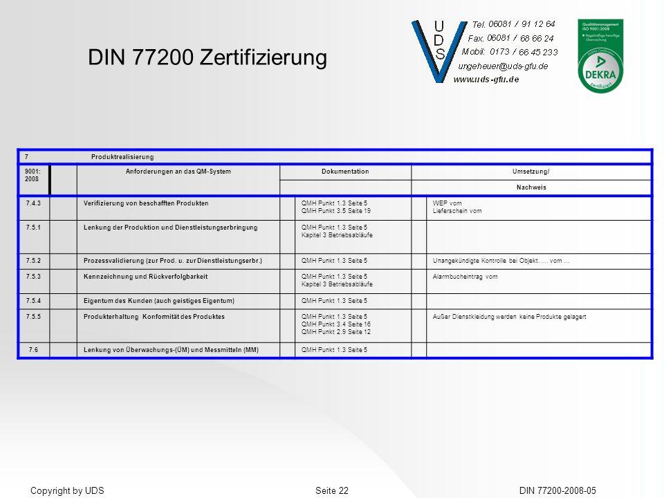 DIN 77200 Zertifizierung DIN 77200-2008-05Seite 22Copyright by UDS 7Produktrealisierung 9001: 2008 Anforderungen an das QM-SystemDokumentationUmsetzun