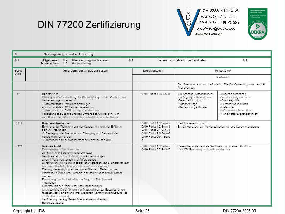 DIN 77200 Zertifizierung DIN 77200-2008-05Seite 23Copyright by UDS 8Messung, Analyse und Verbesserung 8.1Allgemeines8.2Überwachung und Messung8.3Lenku