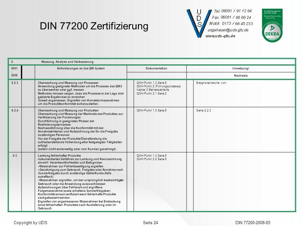 DIN 77200 Zertifizierung DIN 77200-2008-05Seite 24Copyright by UDS 8Messung, Analyse und Verbesserung 9001 : 2008 Anforderungen an das QM-SystemDokume