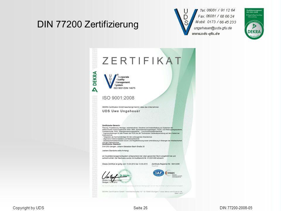 DIN 77200 Zertifizierung DIN 77200-2008-05Seite 26Copyright by UDS