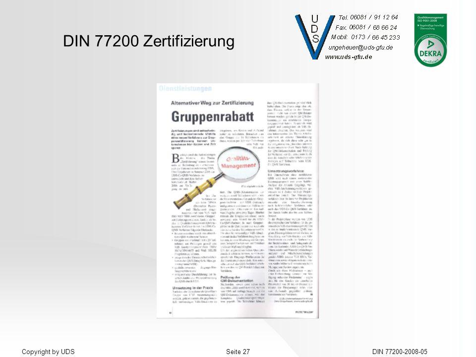 DIN 77200 Zertifizierung DIN 77200-2008-05Seite 27Copyright by UDS