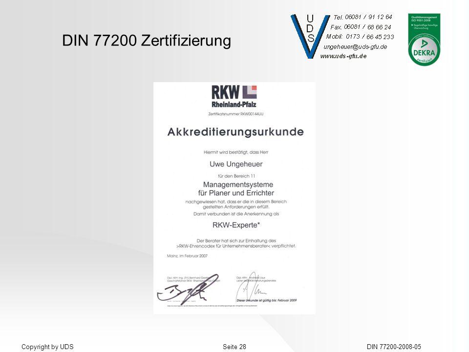 DIN 77200 Zertifizierung DIN 77200-2008-05Seite 28Copyright by UDS