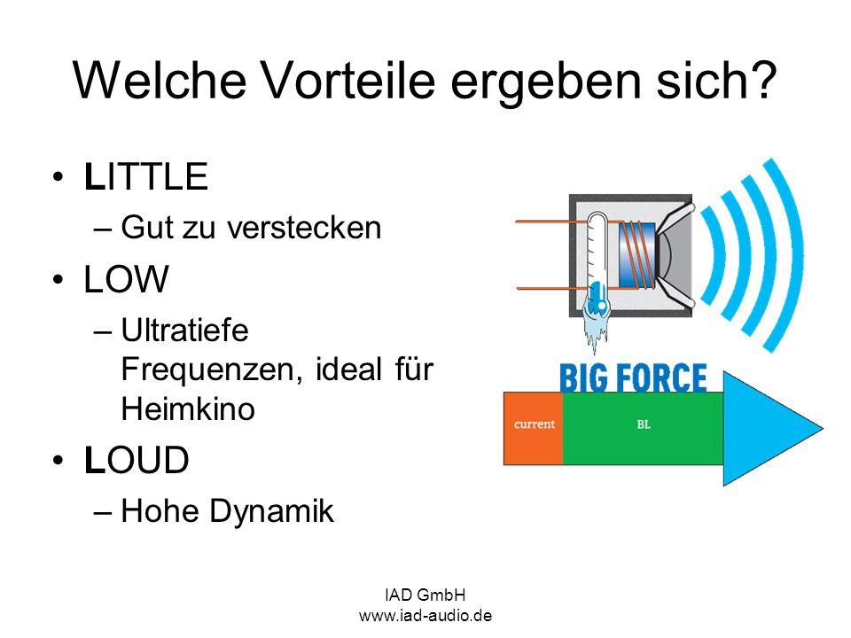 IAD GmbH www.iad-audio.de LITTLE –Gut zu verstecken LOW –Ultratiefe Frequenzen, ideal für Heimkino LOUD –Hohe Dynamik Welche Vorteile ergeben sich?
