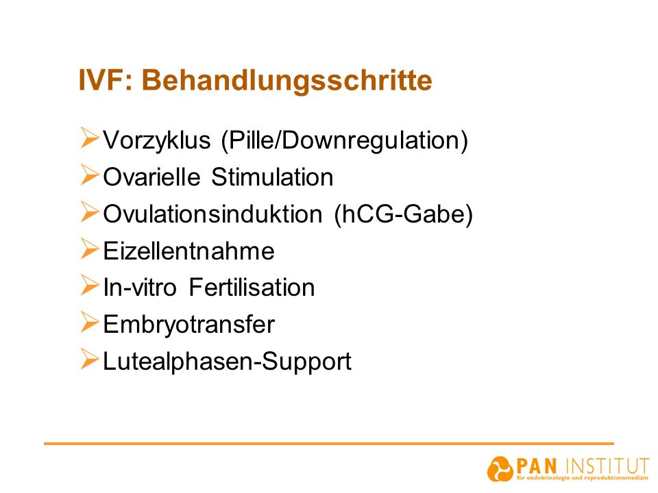 IVF: Behandlungsschritte Vorzyklus (Pille/Downregulation) Ovarielle Stimulation Ovulationsinduktion (hCG-Gabe) Eizellentnahme In-vitro Fertilisation Embryotransfer Lutealphasen-Support