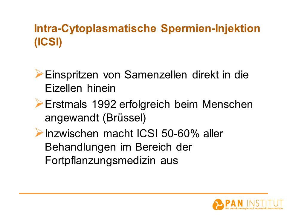 Intra-Cytoplasmatische Spermien-Injektion (ICSI) Einspritzen von Samenzellen direkt in die Eizellen hinein Erstmals 1992 erfolgreich beim Menschen ang