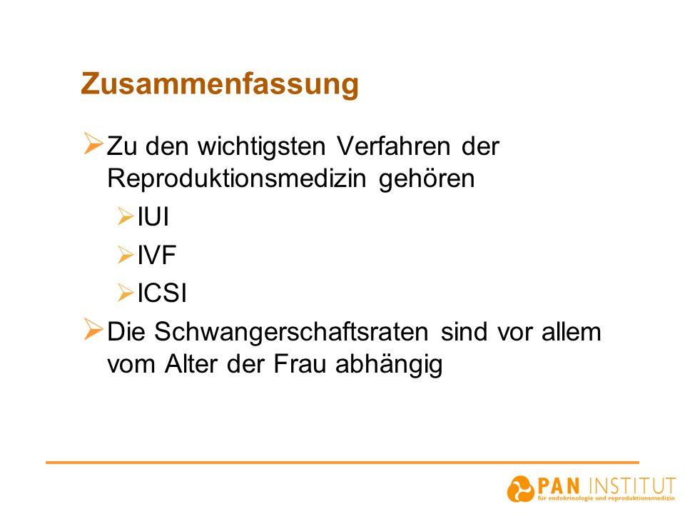 Zusammenfassung Zu den wichtigsten Verfahren der Reproduktionsmedizin gehören IUI IVF ICSI Die Schwangerschaftsraten sind vor allem vom Alter der Frau