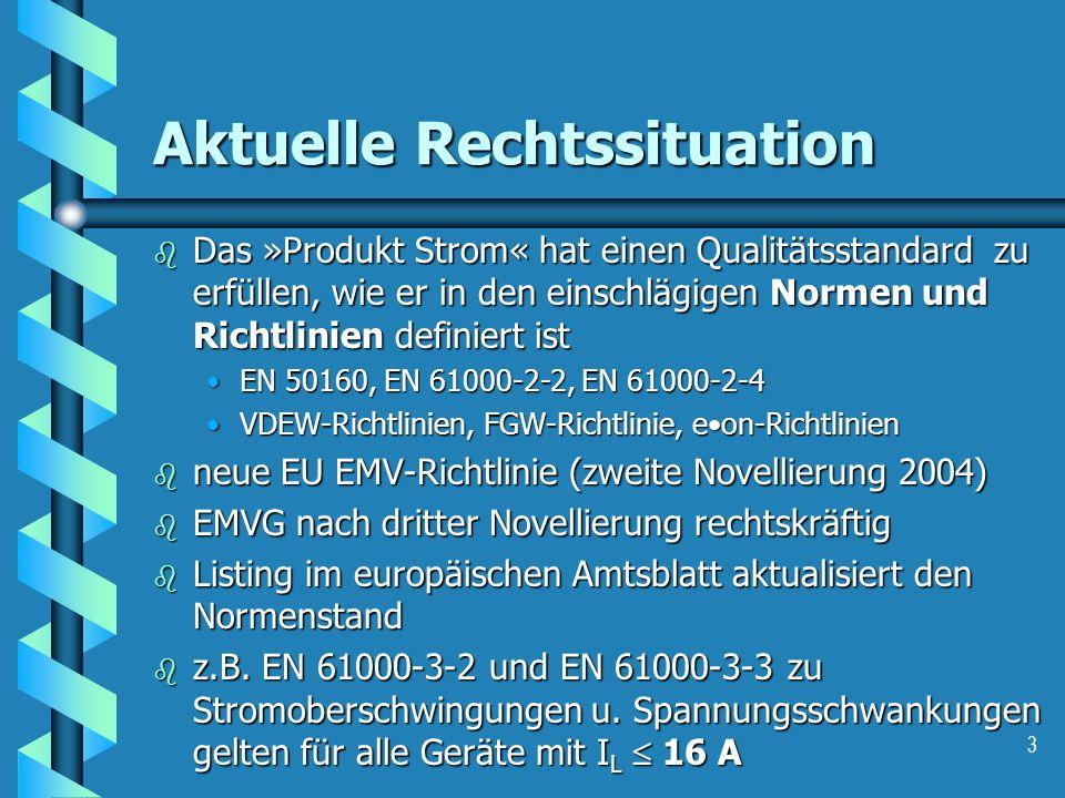 3 Aktuelle Rechtssituation b Das »Produkt Strom« hat einen Qualitätsstandard zu erfüllen, wie er in den einschlägigen Normen und Richtlinien definiert