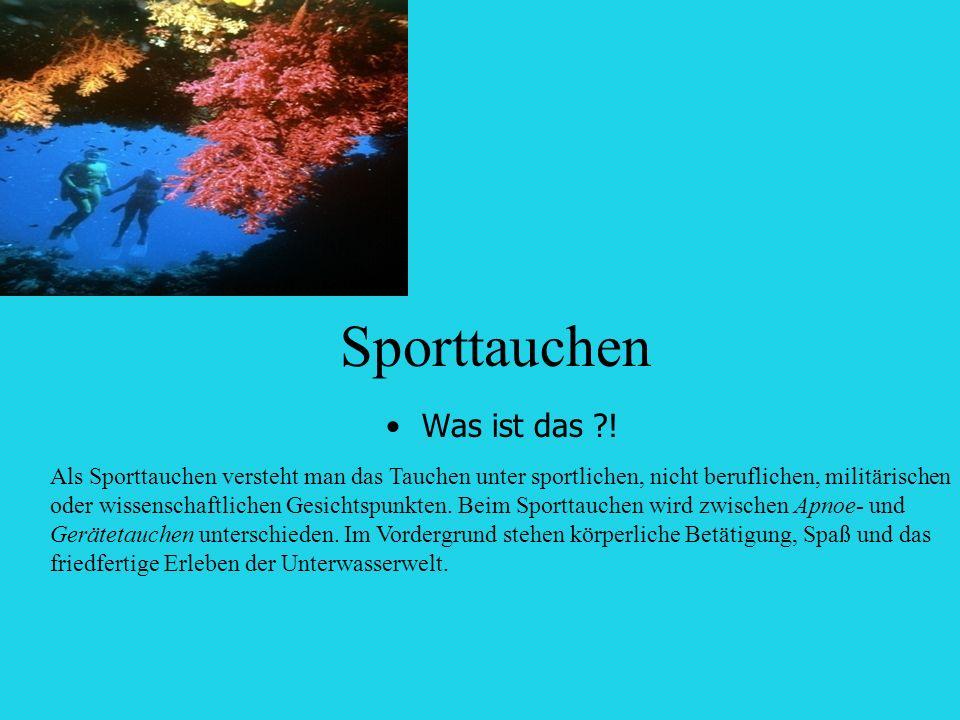 Sporttauchen Was ist das ?! Als Sporttauchen versteht man das Tauchen unter sportlichen, nicht beruflichen, militärischen oder wissenschaftlichen Gesi