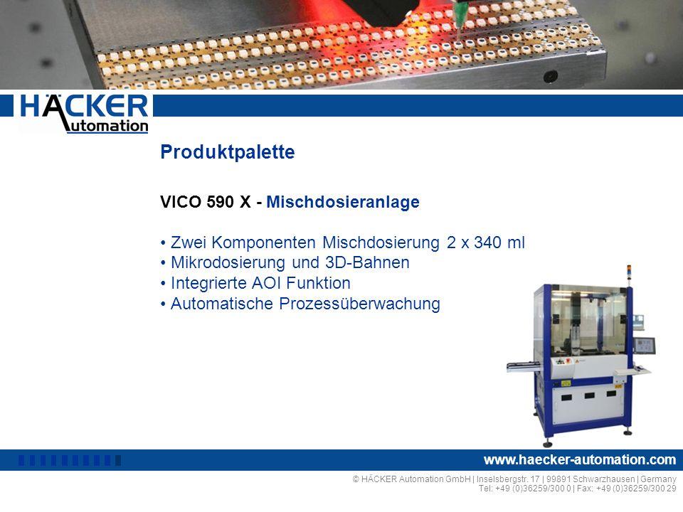 Produktpalette VICO 590 X - Mischdosieranlage I Zwei Komponenten Mischdosierung 2 x 340 ml Mikrodosierung und 3D-Bahnen Integrierte AOI Funktion Autom