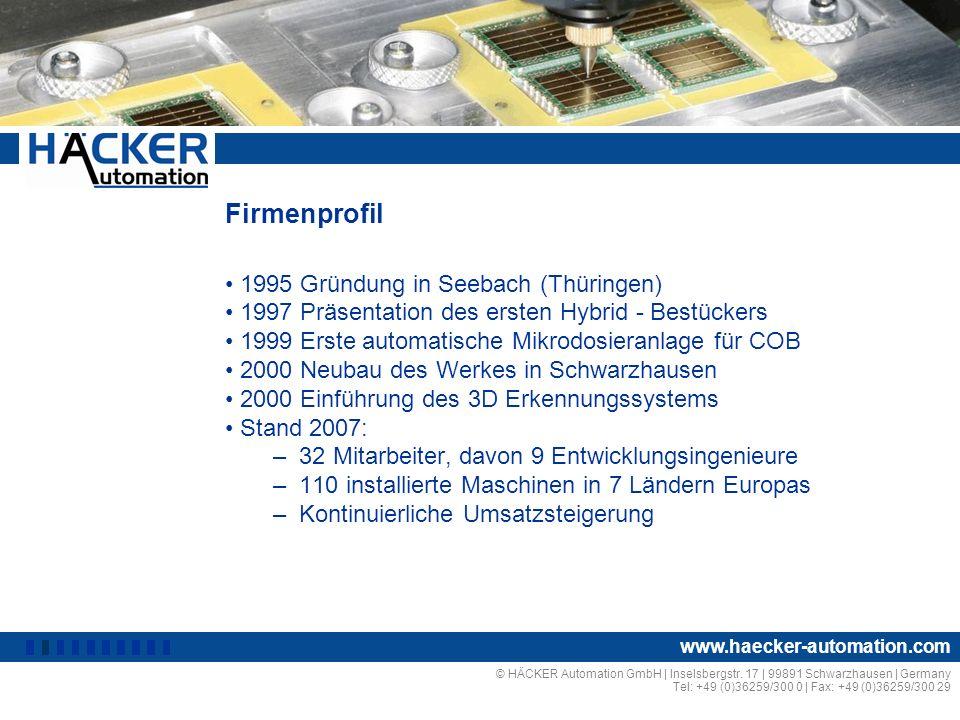 Firmenprofil 1995 Gründung in Seebach (Thüringen) 1997 Präsentation des ersten Hybrid - Bestückers 1999 Erste automatische Mikrodosieranlage für COB 2