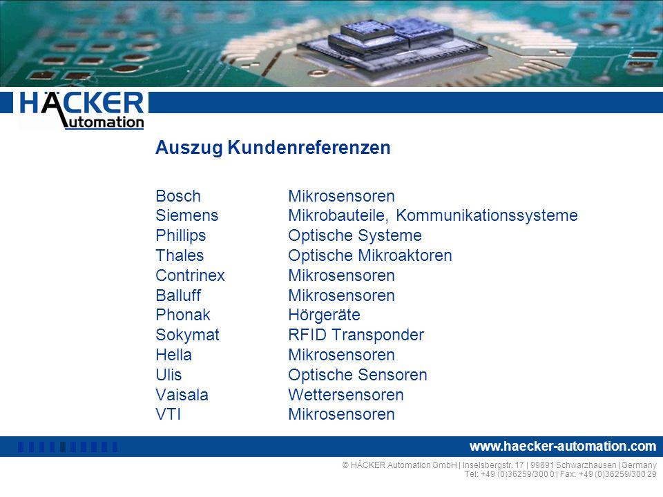 © HÄCKER Automation GmbH | Inselsbergstr. 17 | 99891 Schwarzhausen | Germany Tel: +49 (0)36259/300 0 | Fax: +49 (0)36259/300 29 www.haecker-automation