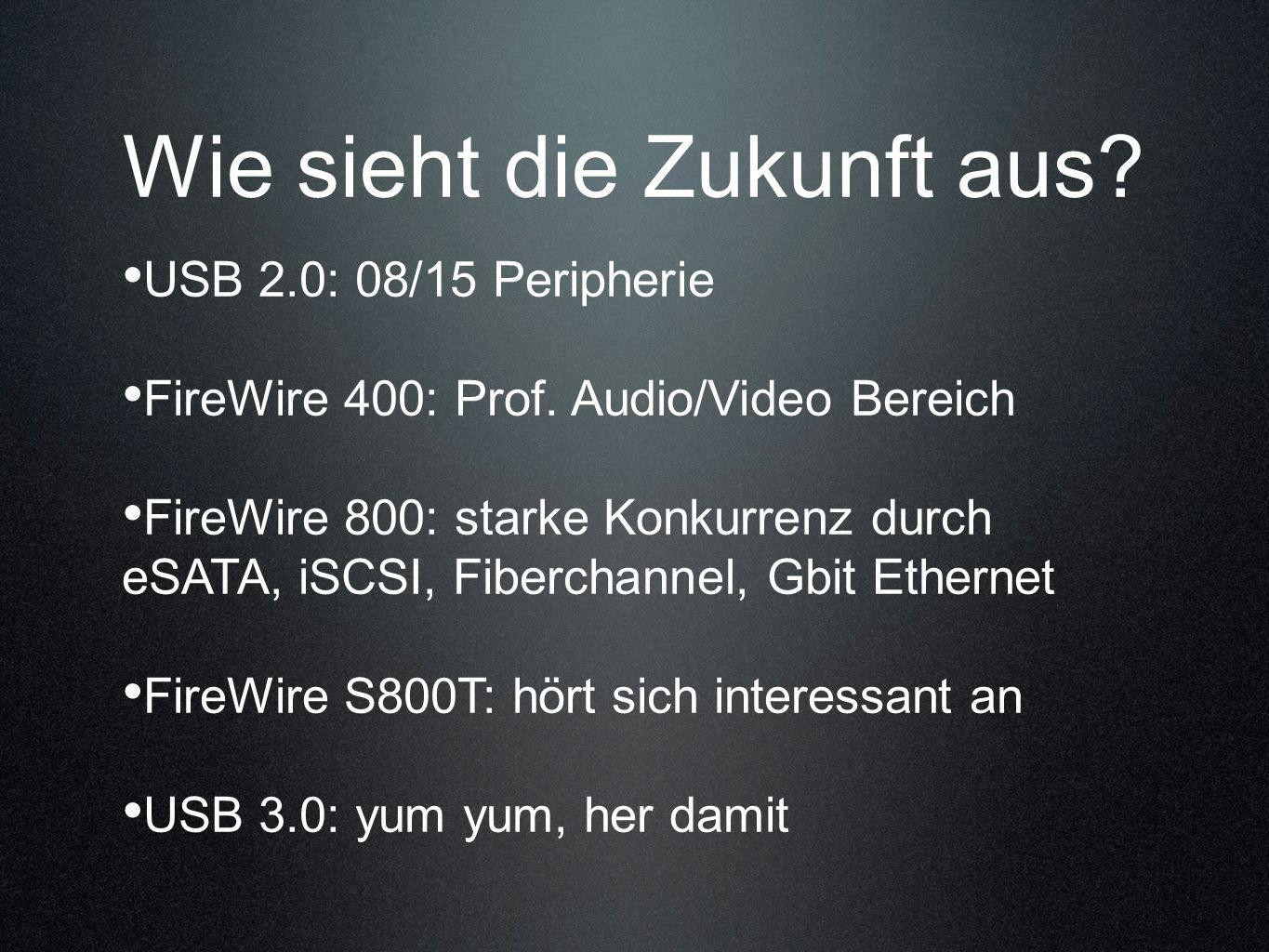 USB 2.0: 08/15 Peripherie FireWire 400: Prof. Audio/Video Bereich FireWire 800: starke Konkurrenz durch eSATA, iSCSI, Fiberchannel, Gbit Ethernet Fire