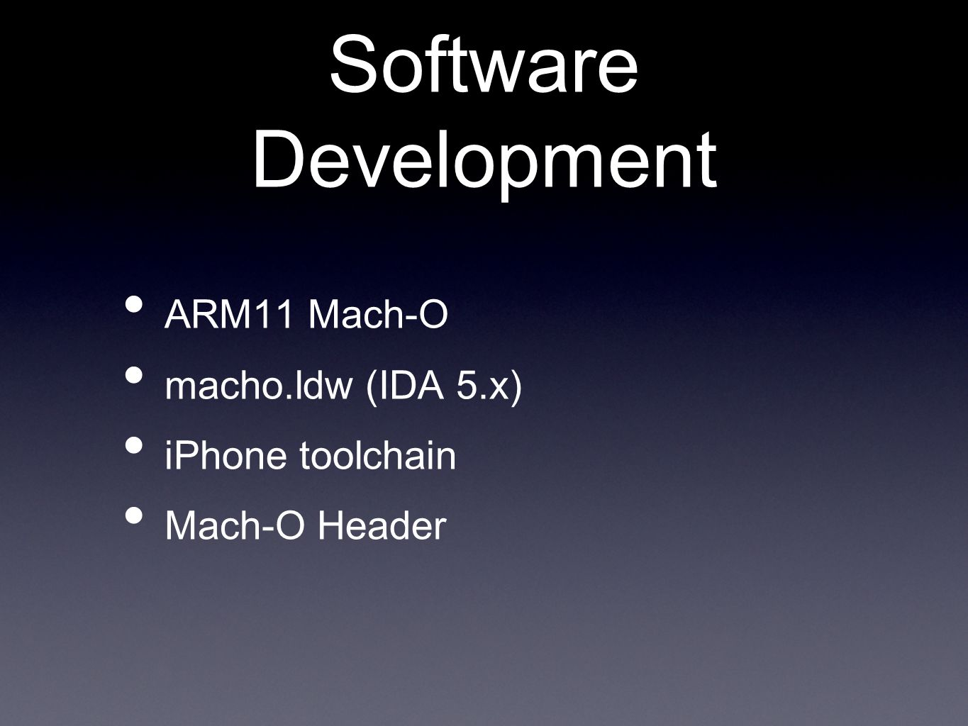Software Development ARM11 Mach-O macho.ldw (IDA 5.x) iPhone toolchain Mach-O Header