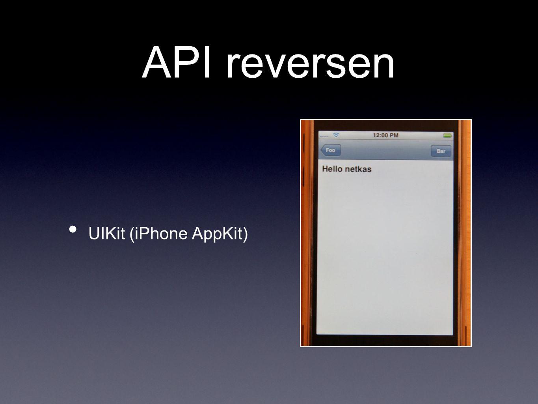 API reversen UIKit (iPhone AppKit)