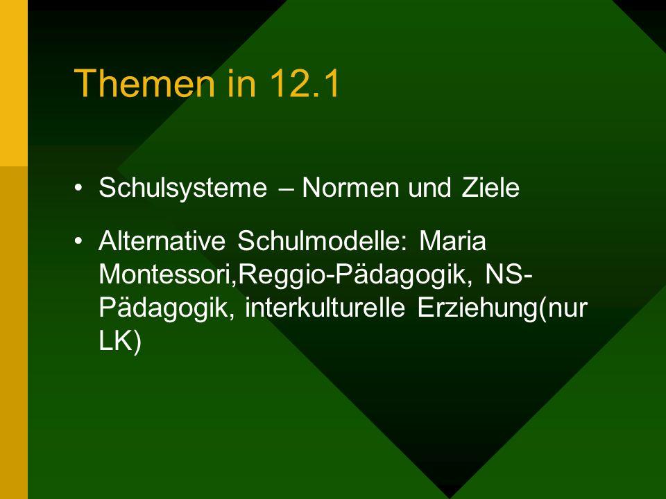 Themen in 12.1 Schulsysteme – Normen und Ziele Alternative Schulmodelle: Maria Montessori,Reggio-Pädagogik, NS- Pädagogik, interkulturelle Erziehung(n
