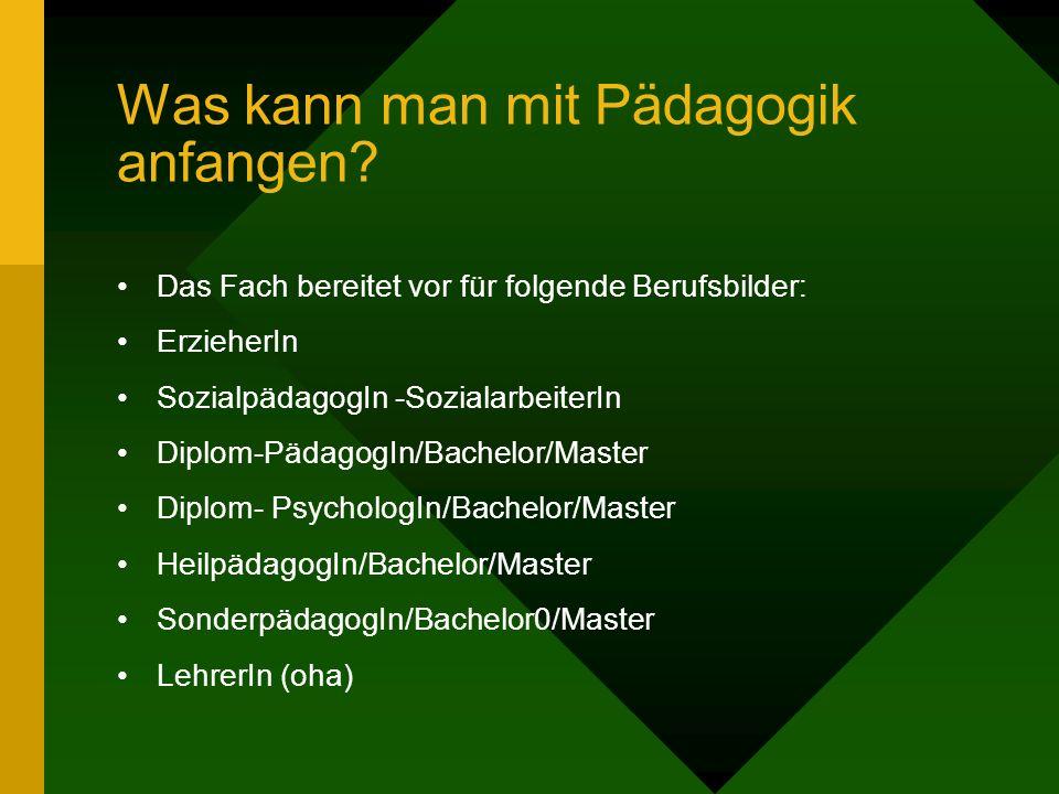 Was kann man mit Pädagogik anfangen? Das Fach bereitet vor für folgende Berufsbilder: ErzieherIn SozialpädagogIn -SozialarbeiterIn Diplom-PädagogIn/Ba