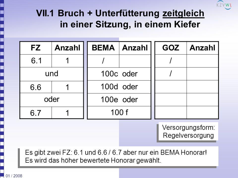01 / 2008 VII.1 Bruch + Unterfütterung zeitgleich in einer Sitzung, in einem Kiefer FZAnzahl 6.11 und 6.61 oder 6.71 BEMAAnzahl / 100c oder 100d oder