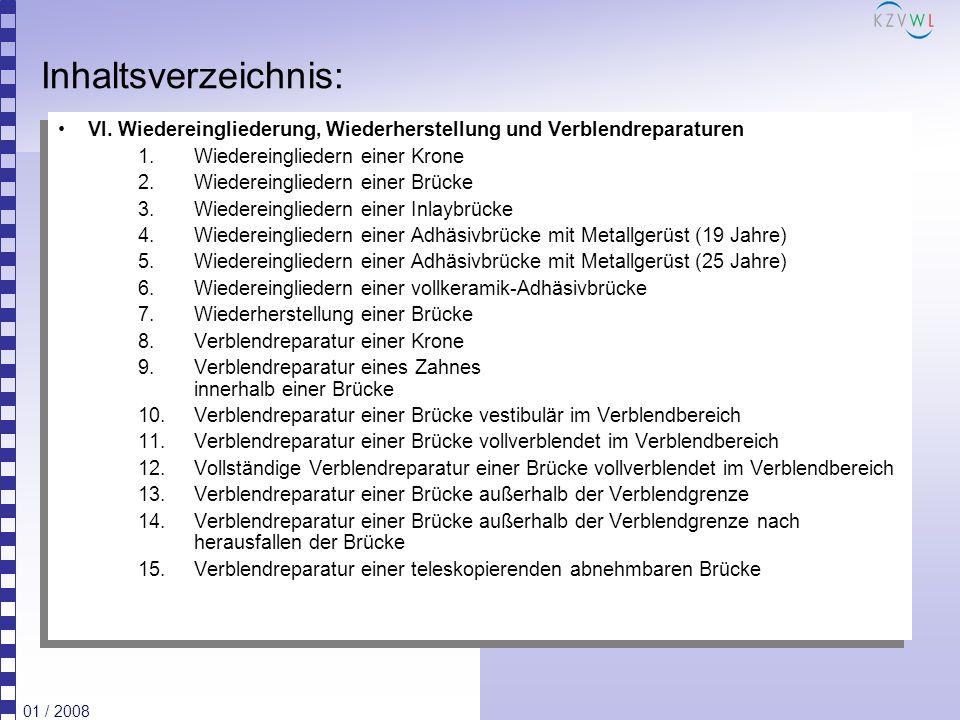 01 / 2008 Inhaltsverzeichnis: VI. Wiedereingliederung, Wiederherstellung und Verblendreparaturen 1.Wiedereingliedern einer Krone 2.Wiedereingliedern e