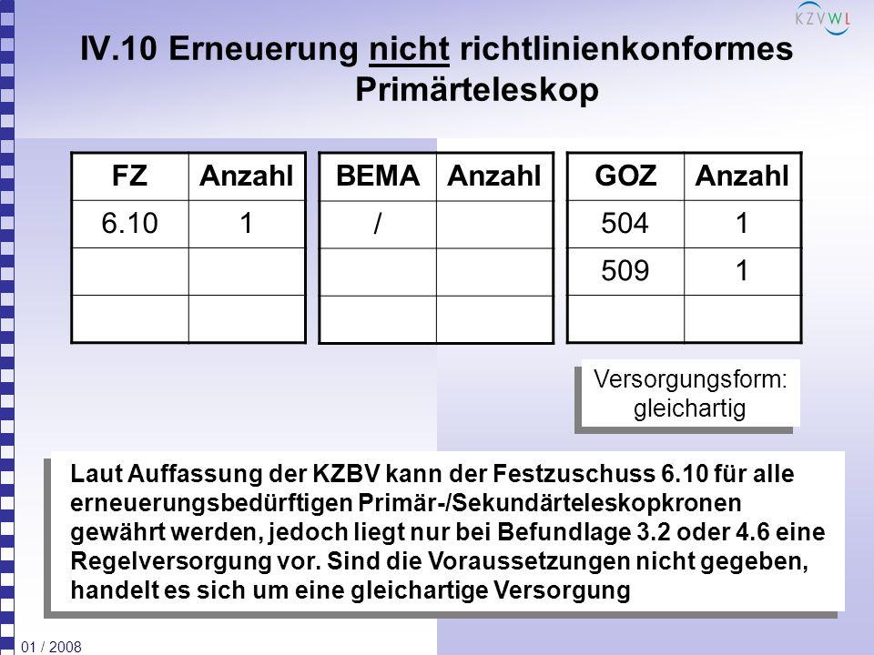 01 / 2008 IV.10 Erneuerung nicht richtlinienkonformes Primärteleskop FZAnzahl 6.101 BEMAAnzahl / GOZAnzahl 5041 5091 Laut Auffassung der KZBV kann der