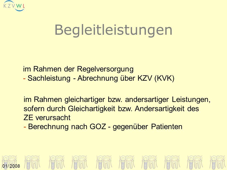 01/ 2008 im Rahmen gleichartiger bzw. andersartiger Leistungen, sofern durch Gleichartigkeit bzw. Andersartigkeit des ZE verursacht - Berechnung nach