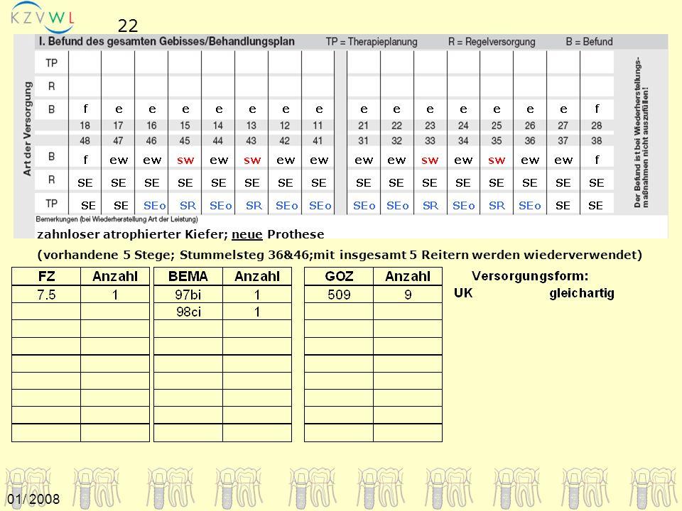 zahnloser atrophierter Kiefer; neue Prothese (vorhandene 5 Stege; Stummelsteg 36&46;mit insgesamt 5 Reitern werden wiederverwendet) 22