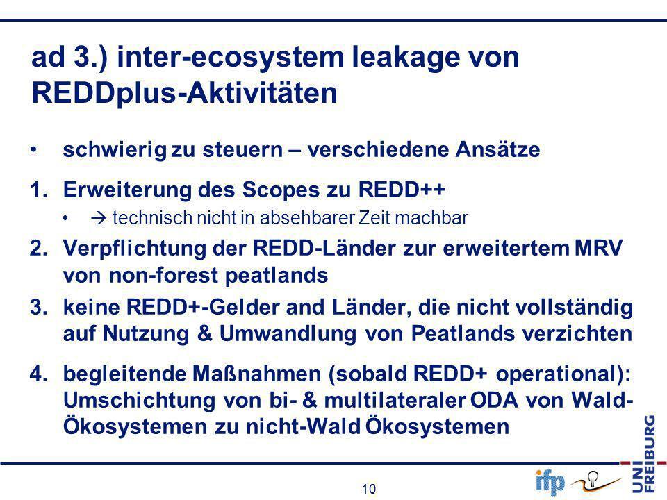 10 ad 3.) inter-ecosystem leakage von REDDplus-Aktivitäten schwierig zu steuern – verschiedene Ansätze 1.Erweiterung des Scopes zu REDD++ technisch ni