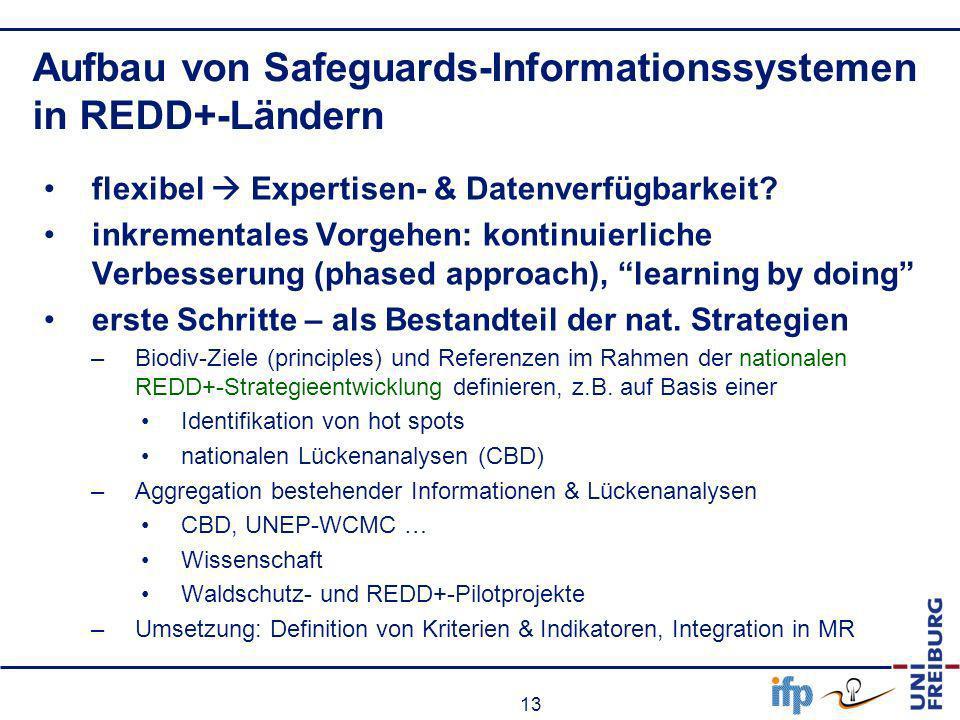 13 Aufbau von Safeguards-Informationssystemen in REDD+-Ländern flexibel Expertisen- & Datenverfügbarkeit? inkrementales Vorgehen: kontinuierliche Verb