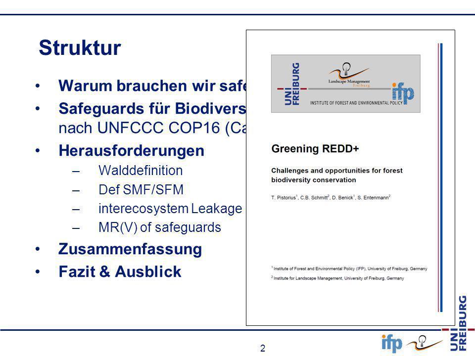 2 Struktur Warum brauchen wir safeguards Safeguards für Biodiversität unter REDD+ nach UNFCCC COP16 (Cancun) Herausforderungen –Walddefinition –Def SM