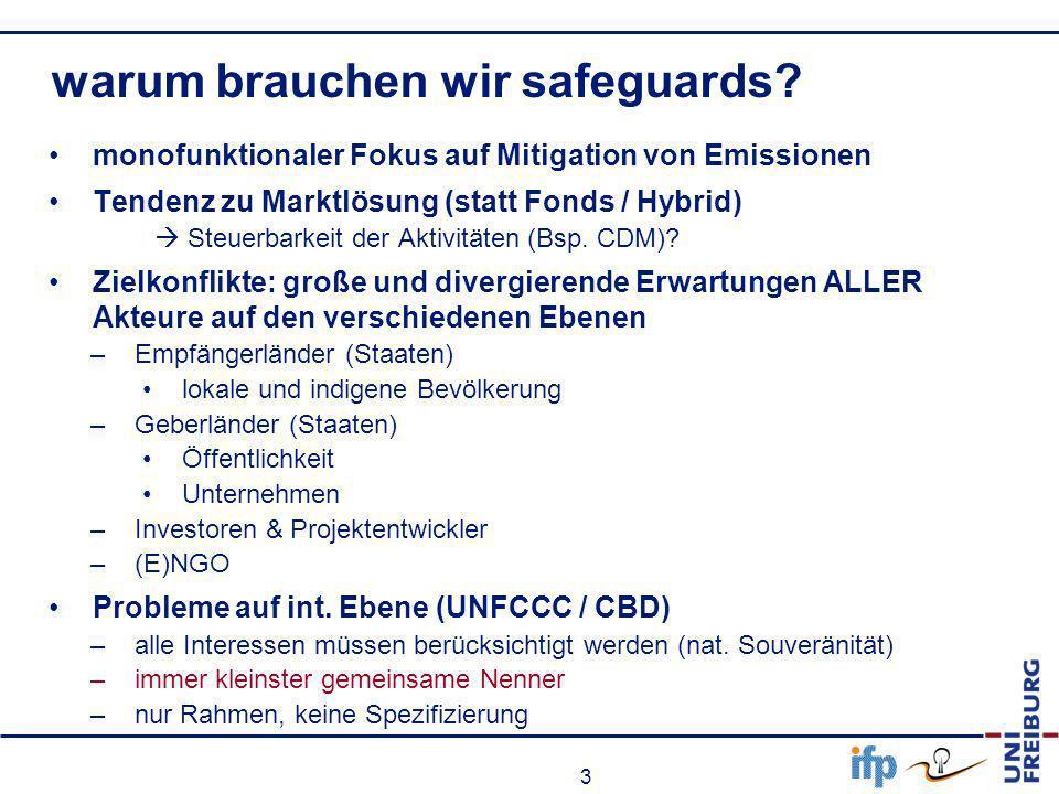 3 warum brauchen wir safeguards? monofunktionaler Fokus auf Mitigation von Emissionen Tendenz zu Marktlösung (statt Fonds / Hybrid) Steuerbarkeit der