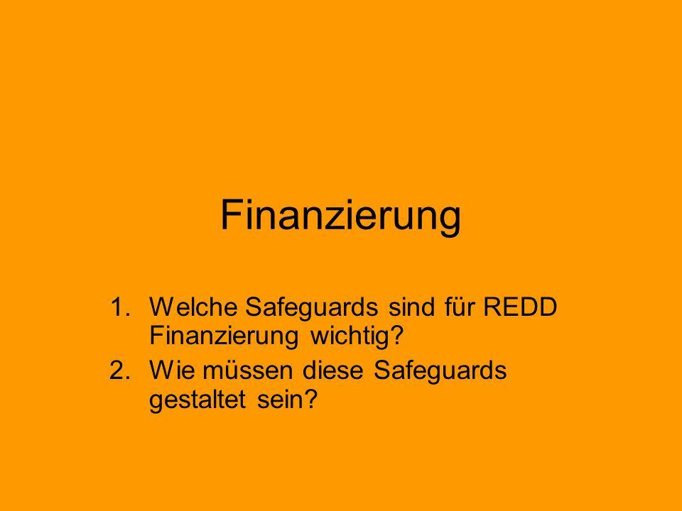 Finanzierung 1.Welche Safeguards sind für REDD Finanzierung wichtig.