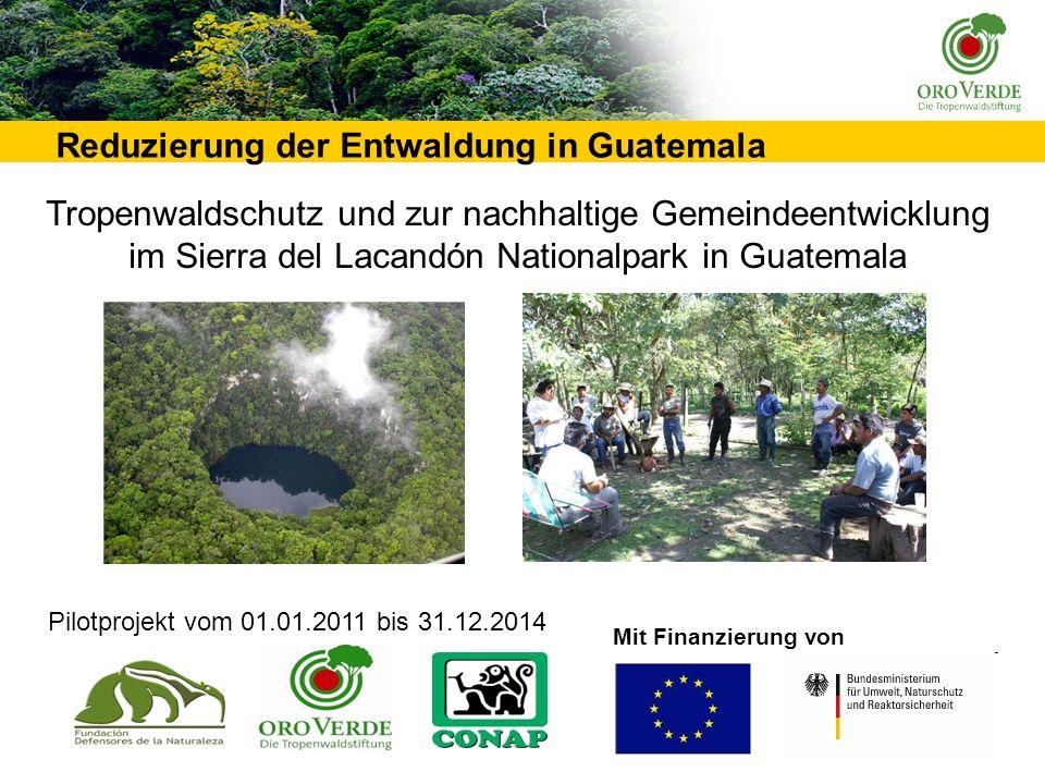 __________________________________________________________________________________________________________ Reduzierung der Entwaldung in Guatemala Mit Finanzierung von Pilotprojekt vom 01.01.2011 bis 31.12.2014 Tropenwaldschutz und zur nachhaltige Gemeindeentwicklung im Sierra del Lacandón Nationalpark in Guatemala