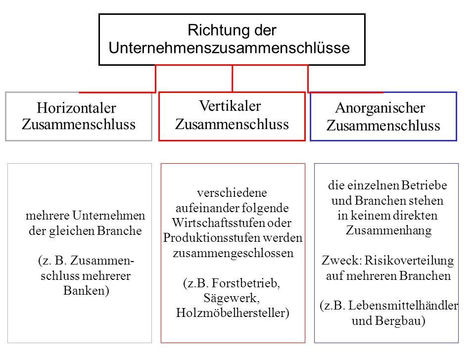 Richtung der Unternehmenszusammenschlüsse Horizontaler Zusammenschluss Vertikaler Zusammenschluss Anorganischer Zusammenschluss die einzelnen Betriebe