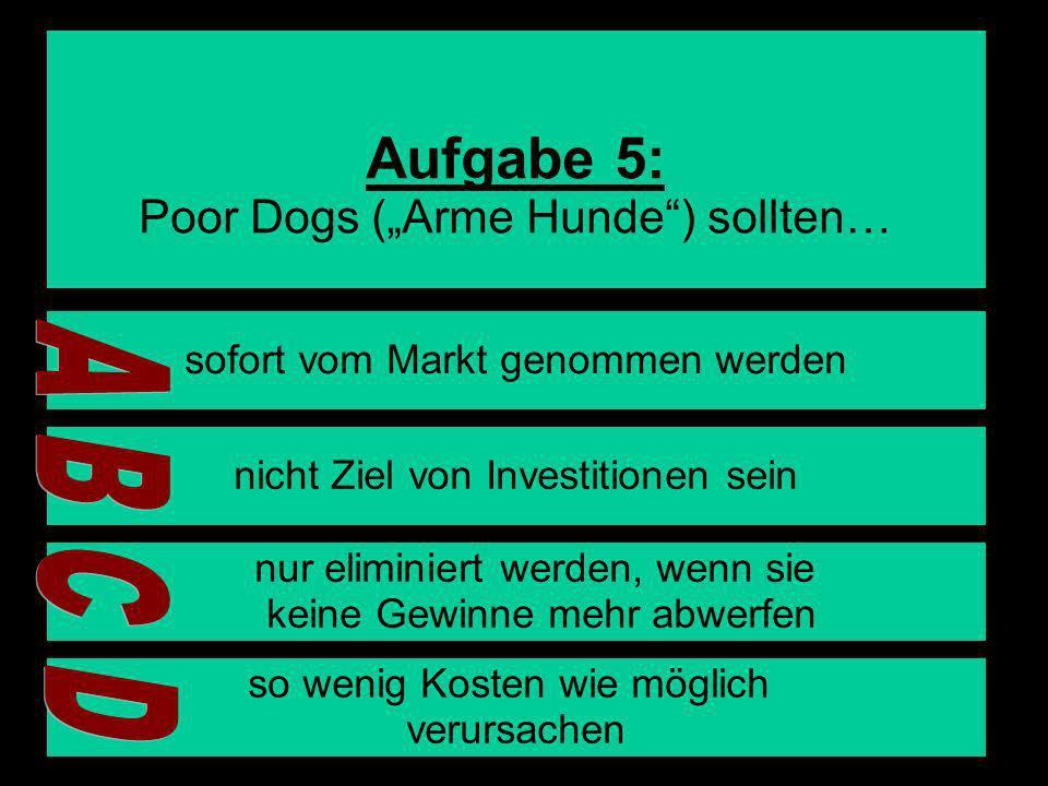 10 Aufgabe 5: Poor Dogs (Arme Hunde) sollten… sofort vom Markt genommen werden nicht Ziel von Investitionen sein nur eliminiert werden, wenn sie keine