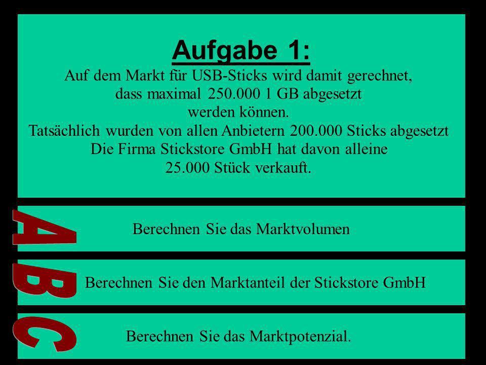 6 Aufgabe 1: Auf dem Markt für USB-Sticks wird damit gerechnet, dass maximal 250.000 1 GB abgesetzt werden können. Tatsächlich wurden von allen Anbiet