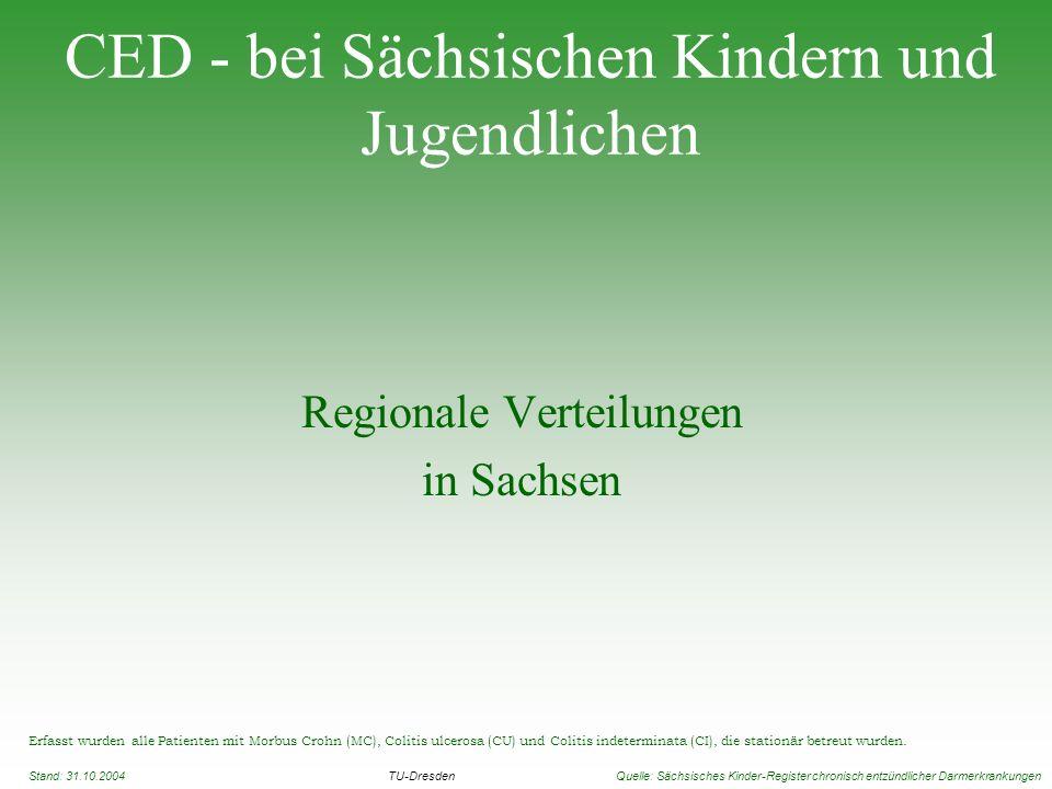 CED - bei Sächsischen Kindern und Jugendlichen Regionale Verteilungen in Sachsen Erfasst wurden alle Patienten mit Morbus Crohn (MC), Colitis ulcerosa
