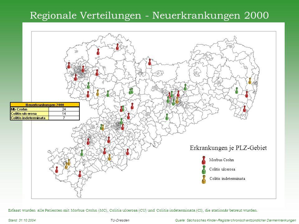 Regionale Verteilungen - Neuerkrankungen 2000 Erfasst wurden alle Patienten mit Morbus Crohn (MC), Colitis ulcerosa (CU) und Colitis indeterminata (CI