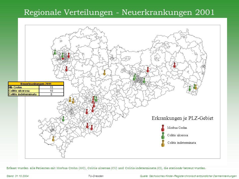 Regionale Verteilungen - Neuerkrankungen 2001 Erfasst wurden alle Patienten mit Morbus Crohn (MC), Colitis ulcerosa (CU) und Colitis indeterminata (CI