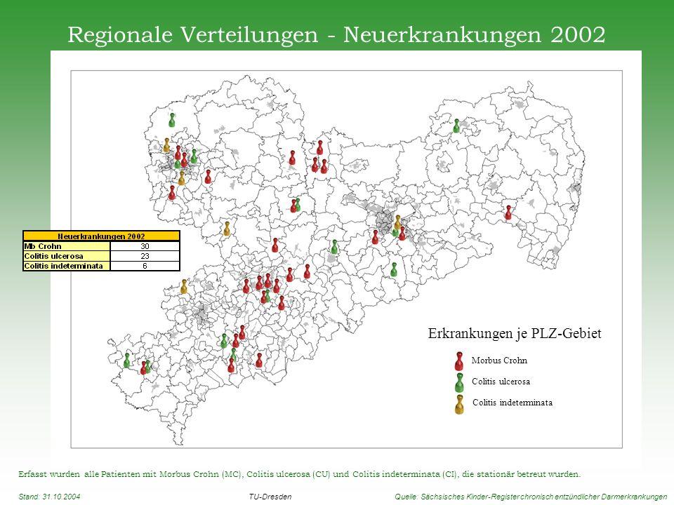 Regionale Verteilungen - Neuerkrankungen 2002 Erfasst wurden alle Patienten mit Morbus Crohn (MC), Colitis ulcerosa (CU) und Colitis indeterminata (CI