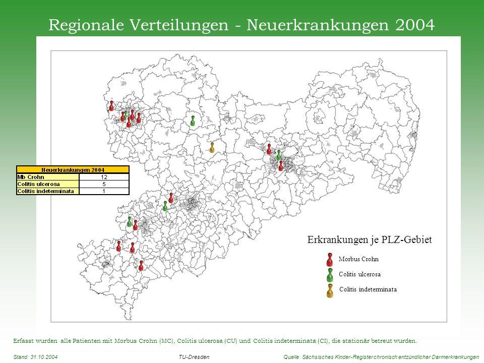 Regionale Verteilungen - Neuerkrankungen 2004 Erfasst wurden alle Patienten mit Morbus Crohn (MC), Colitis ulcerosa (CU) und Colitis indeterminata (CI