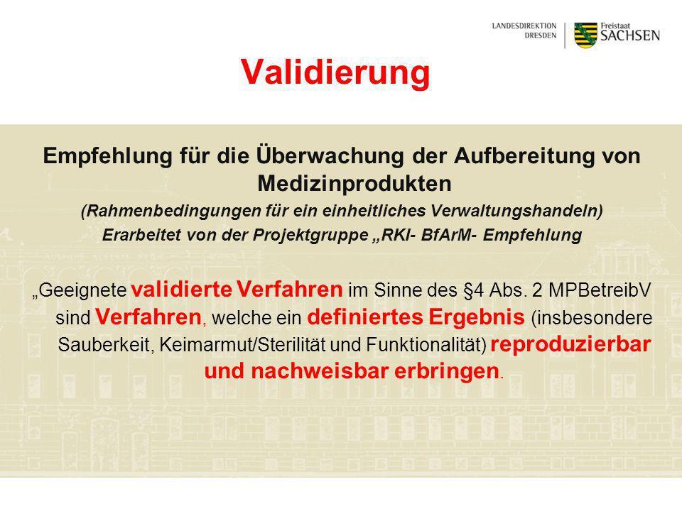 Validierung Empfehlung für die Überwachung der Aufbereitung von Medizinprodukten (Rahmenbedingungen für ein einheitliches Verwaltungshandeln) Erarbeit
