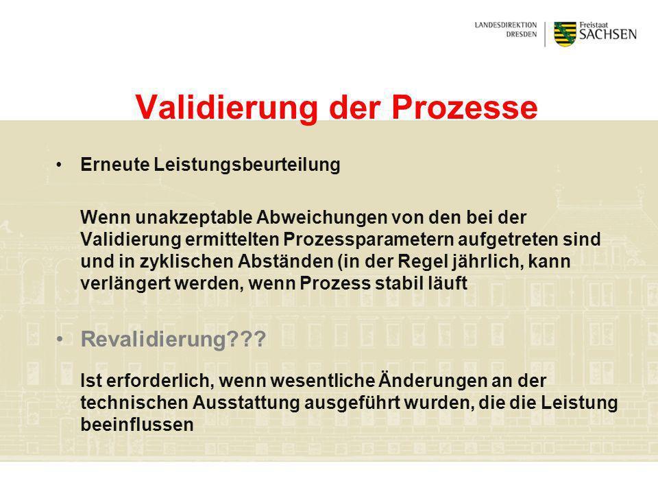 Validierung der Prozesse Erneute Leistungsbeurteilung Wenn unakzeptable Abweichungen von den bei der Validierung ermittelten Prozessparametern aufgetr