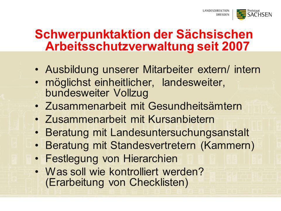 Schwerpunktaktion der Sächsischen Arbeitsschutzverwaltung seit 2007 Ausbildung unserer Mitarbeiter extern/ intern möglichst einheitlicher, landesweite