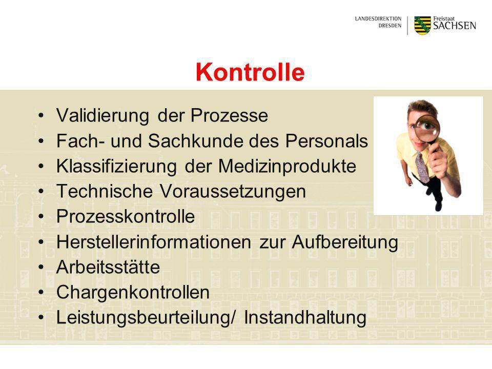 Kontrolle Validierung der Prozesse Fach- und Sachkunde des Personals Klassifizierung der Medizinprodukte Technische Voraussetzungen Prozesskontrolle H
