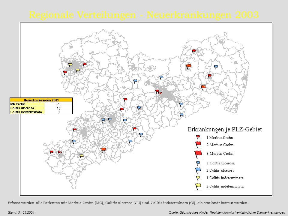 Regionale Verteilungen - Neuerkrankungen 2003 Erfasst wurden alle Patienten mit Morbus Crohn (MC), Colitis ulcerosa (CU) und Colitis indeterminata (CI