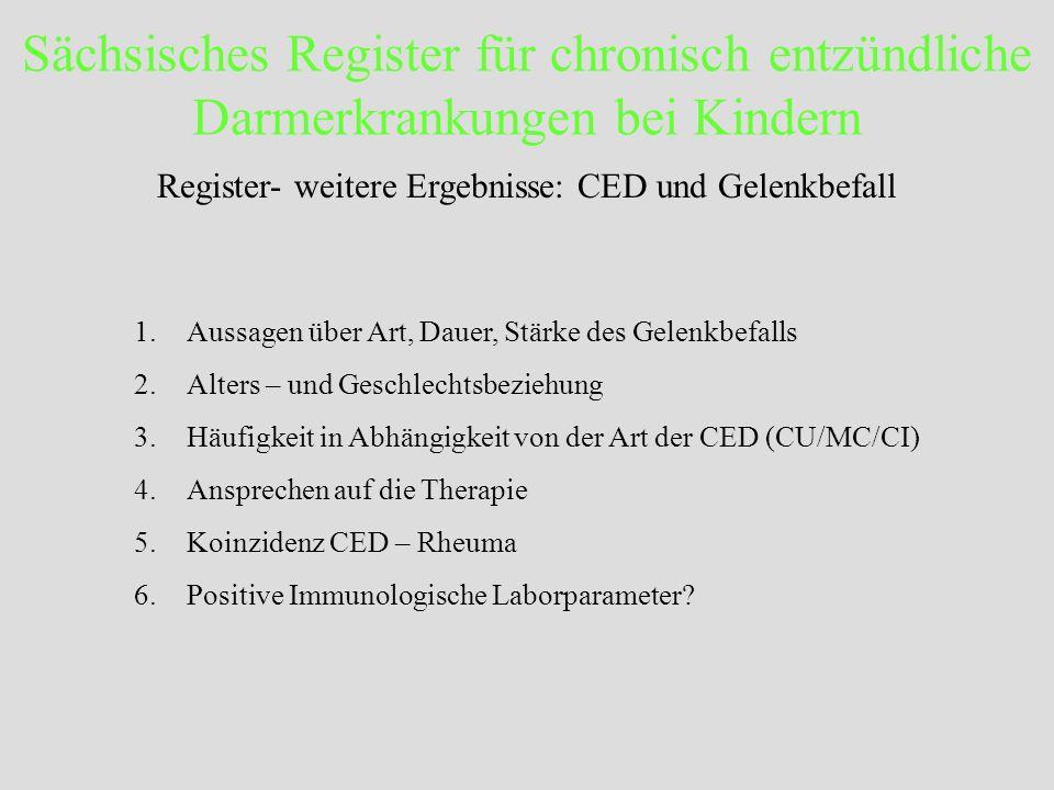 Sächsisches Register für chronisch entzündliche Darmerkrankungen bei Kindern Register- weitere Ergebnisse: CED und Gelenkbefall 1.Aussagen über Art, D