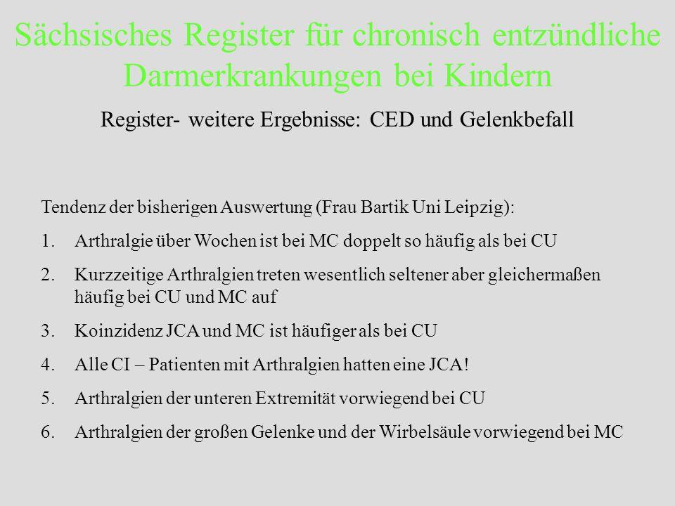 Sächsisches Register für chronisch entzündliche Darmerkrankungen bei Kindern Register- weitere Ergebnisse: CED und Gelenkbefall Tendenz der bisherigen