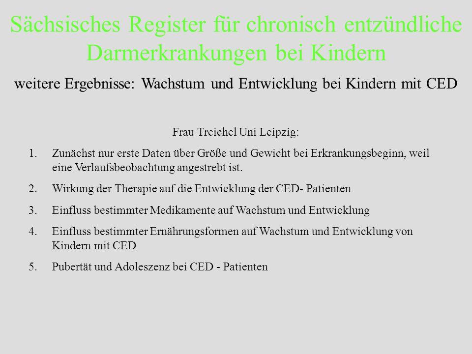 Sächsisches Register für chronisch entzündliche Darmerkrankungen bei Kindern Frau Treichel Uni Leipzig: 1.Zunächst nur erste Daten über Größe und Gewi