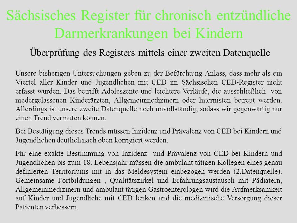 Sächsisches Register für chronisch entzündliche Darmerkrankungen bei Kindern Unsere bisherigen Untersuchungen geben zu der Befürchtung Anlass, dass me